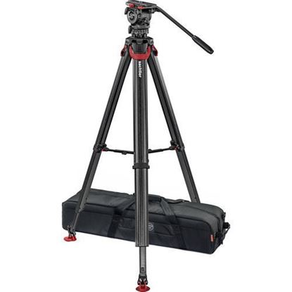 Picture of Sachtler System FSB 8 Fluid Head with Sideload Plate, Flowtech 75 Carbon Fiber Tripod with Mid-Level Spreader and Rubber Feet