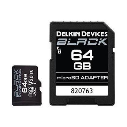 Picture of Delkin BLACK 64GB UHS-I V30 U3 90MB/s microSDXC Card